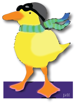 Duck with goggles photoshopped
