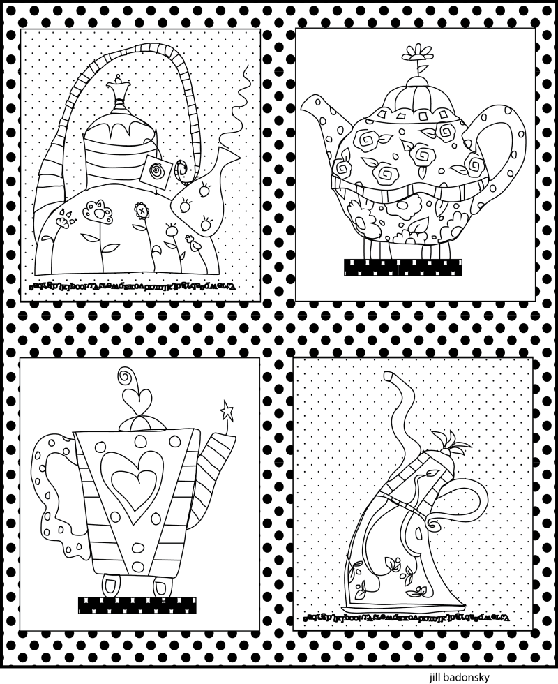 Teapot steeping coloring page